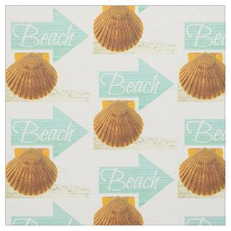 Beach Sign Scallop Shell Fabric