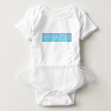 Beach Themed Beach Sillouette Design Blue & Beautiful Baby Bodysuit