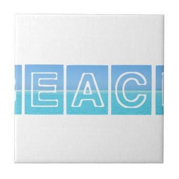 Beach Themed Beach Sillouette Design Blue & Beautiful Ceramic Tile