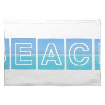 Beach Themed Beach Sillouette Design Blue & Beautiful Cloth Placemat