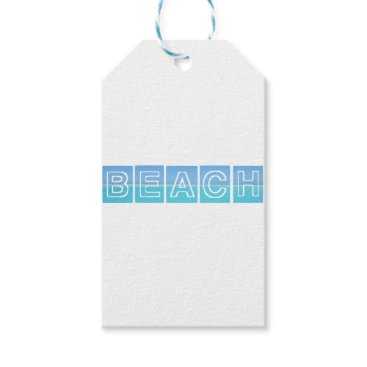 Beach Themed Beach Sillouette Design Blue & Beautiful Gift Tags