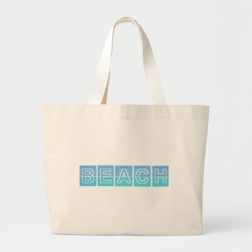 Beach Themed Beach Sillouette Design Blue & Beautiful Large Tote Bag
