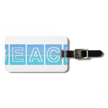 Beach Themed Beach Sillouette Design Blue & Beautiful Luggage Tag