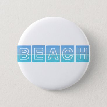 Beach Themed Beach Sillouette Design Blue & Beautiful Pinback Button