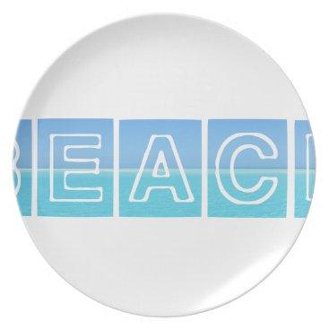 Beach Themed Beach Sillouette Design Blue & Beautiful Plate