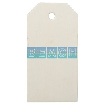 Beach Themed Beach Sillouette Design Blue & Beautiful Wooden Gift Tags