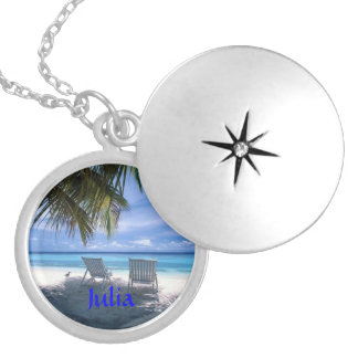 BEACH Silver LOCKET Necklace