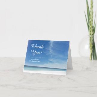 Beach Sky Cloud & Seashells Folded Thank You Card