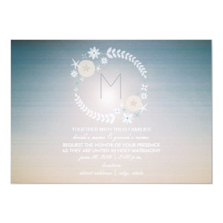 Beach Sky Monogram Wedding Card
