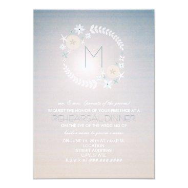 Beach Themed Beach Sky Monogram Wedding Rehearsal Dinner Invite
