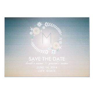 Beach Sky Monogram Wedding Save The Date Card
