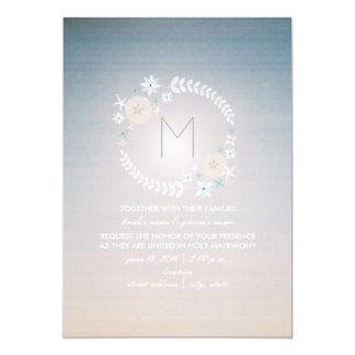 Beach Sky Photo Monogram Wedding Card