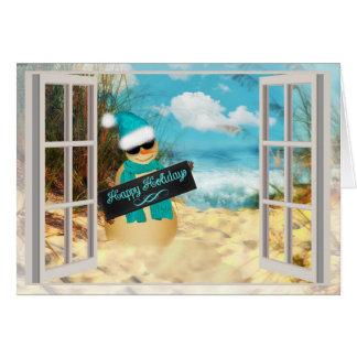Beach Snowman | Christmas Tropical Beach Window Card