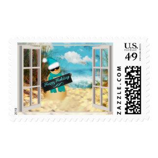 Beach Snowman | Christmas Tropical Beach Window Postage