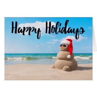 Beach Snowman Sand Happy Holidays Greeting Card