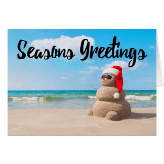 Beach Snowman Sand Holiday Seasons Greetings Card