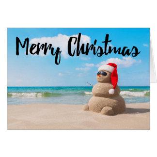 Beach Snowman Sand Merry Christmas Greeting Card