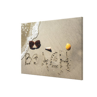 Beach Spelled In The Sand Canvas Print