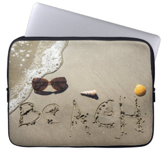 Beach Spelled In The Sand Laptop Computer Sleeves