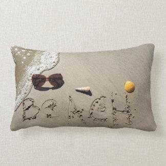 Beach Spelled In The Sand Lumbar Pillow