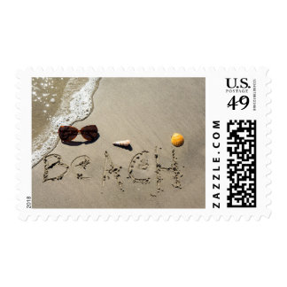 Beach Spelled In The Sand Postage