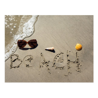 Beach Spelled In The Sand Postcard