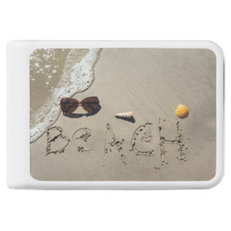 Beach Spelled In The Sand Power Bank