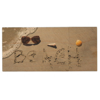 Beach Spelled In The Sand Wood USB Flash Drive