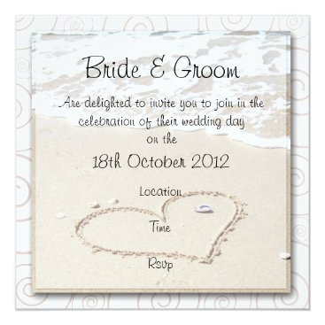 Beach Themed BEACH square Wedding Invitation