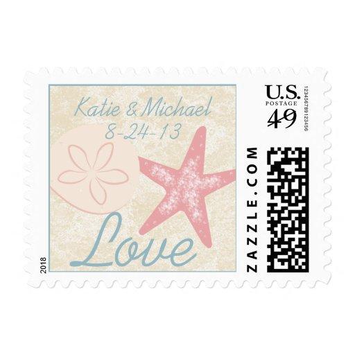 Beach Starfish and Sandollar Love Postage Stamp