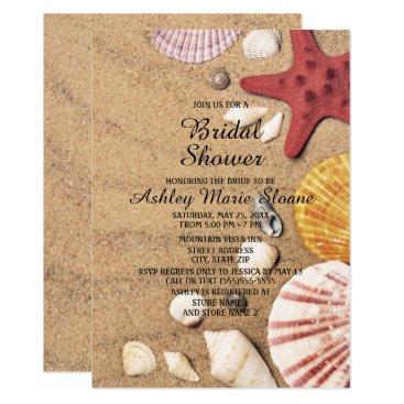 Beach Themed Beach Starfish and Seashells Bridal Shower Card