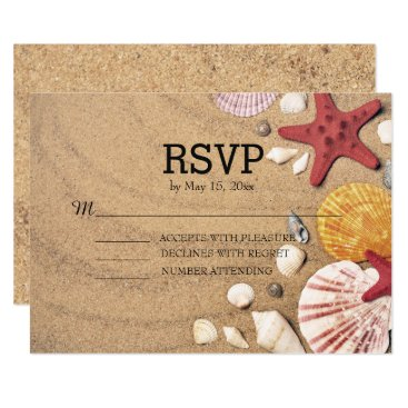 Beach Themed Beach Starfish and Seashells Wedding RSVP Card
