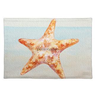Beach Starfish Blue Ocean Watercolor Cloth Placemat