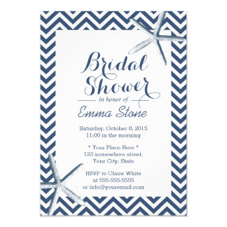 Beach Starfish Chevron Stripes Bridal Shower Card