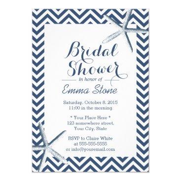 Beach Themed Beach Starfish Chevron Stripes Bridal Shower Card