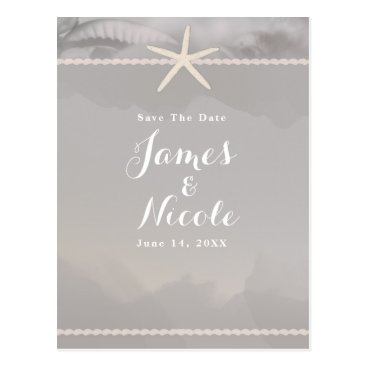 Beach Themed Beach Starfish Chic Grey Engagement Save the Date Postcard