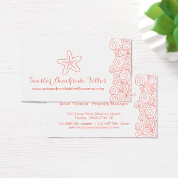 Beach Themed Beach starfish coral property letting cards