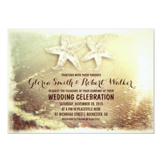 Beach starfish couple and sea wave beach wedding 5x7 paper invitation card