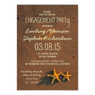 beach starfish couple engagement party invitations