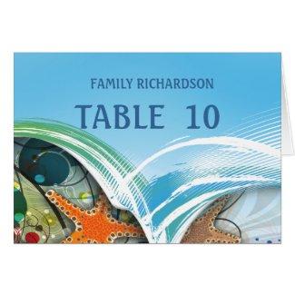 Beach Starfish Couple Wedding Table Numbers Cards
