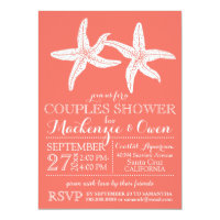 Beach Starfish Couples Wedding Bridal Shower Card
