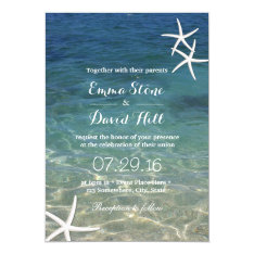 Beach Starfish Elegant Summer Wedding Card at Zazzle