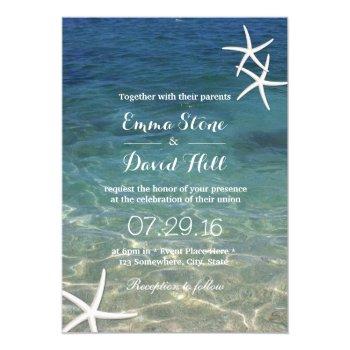 Beach Starfish Elegant Summer Wedding Card by myinvitation at Zazzle