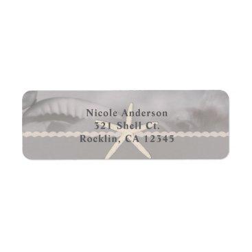 Beach Themed Beach Starfish Grey Chic Elegant Invitation Label