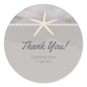 Beach Themed Beach Starfish Grey Chic Elegant Wedding Favor Classic Round Sticker