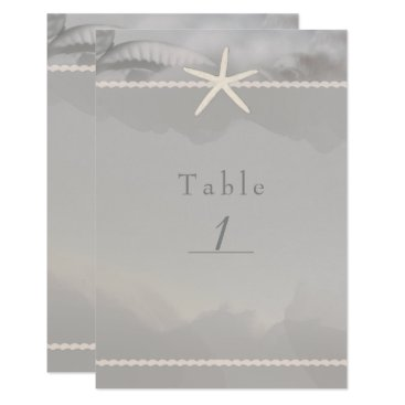 Beach Themed Beach Starfish Grey Chic Table Number Card