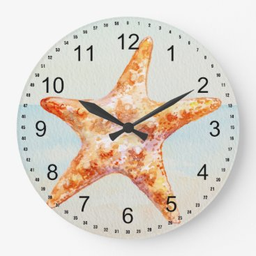 Beach Themed Beach Starfish Large Clock