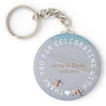 Beach Starfish Love Personalized Wedding Favor Keychain