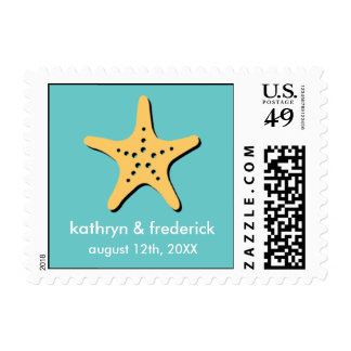 Beach starfish modern wedding save the date postage
