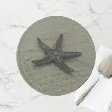 Beach Themed Beach Starfish on Sand Cake Plate